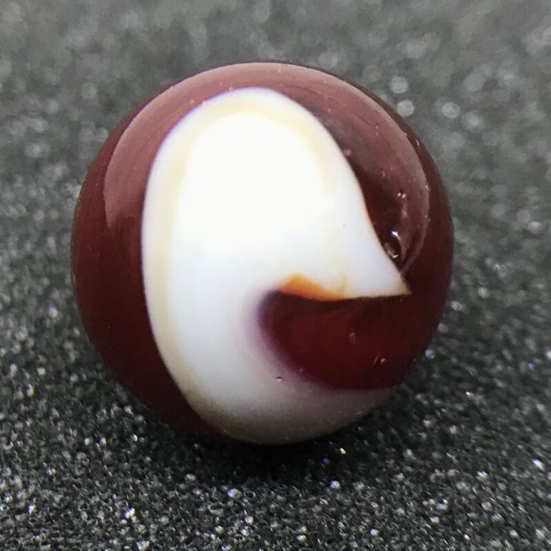 """Vintage Akro Agate 11/16"""" Transparent Deep Red White Special Corkscrew Marble"""