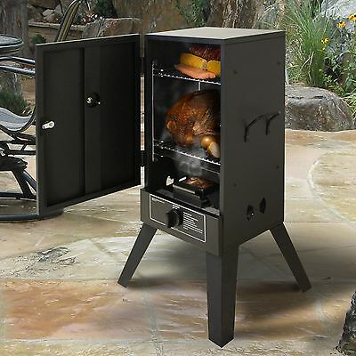 Gas Smoker Grill LP Propane Vertical Outdoor BBQ Wood Chips Burner Meat Smoke