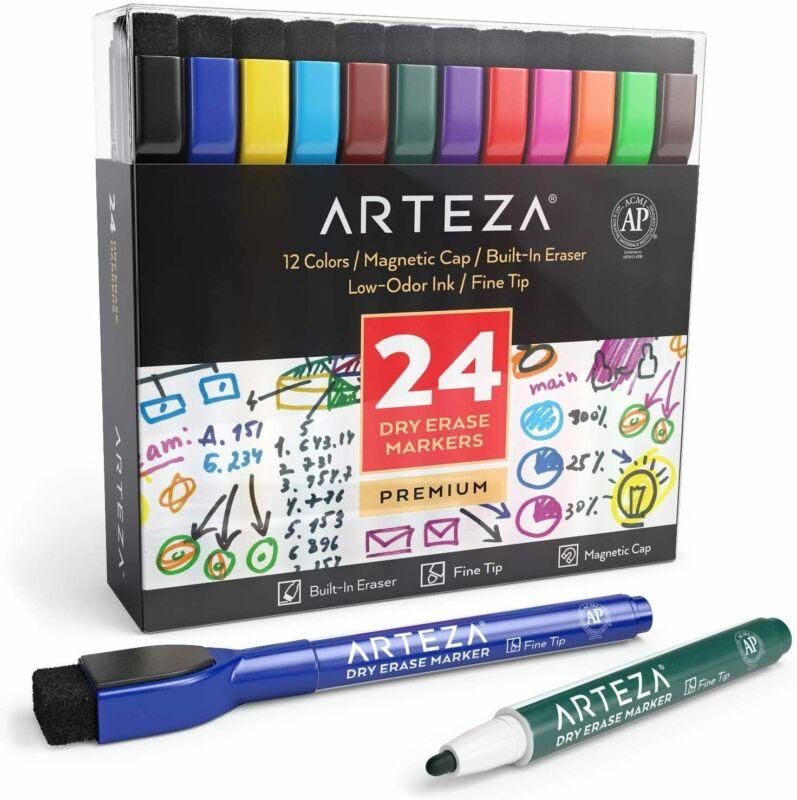 ARTEZA Dry Erase Markers, Magnetic Eraser Caps, Fine Tip, Colors