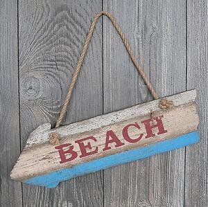 Holzschild Beach maritim 45cm groß Schild Strand Urlaub Meer Wegweiser Wanddeko