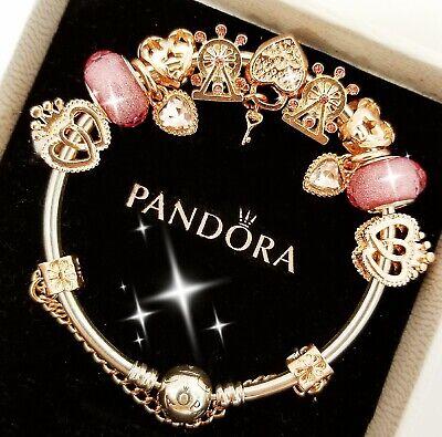Authentic Pandora Bracelet Silver Bangle with Rose Gold Love European Charm (Gold Pandora)