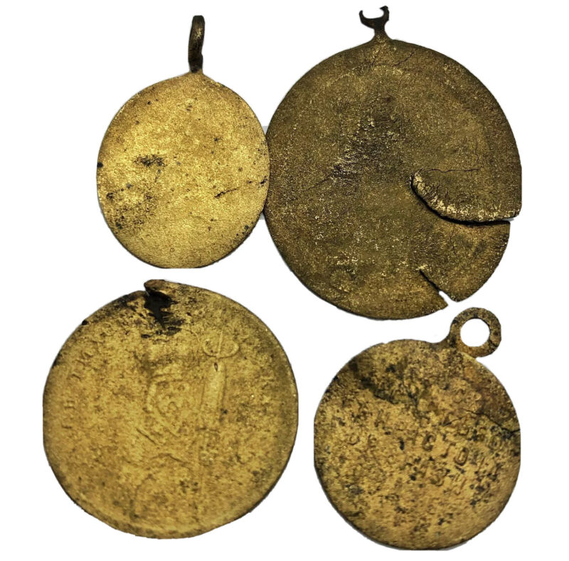 (4x) 1400-1700s Late/Post Medieval Byzantine Orthodox Relic Icon Pendant Lot Old