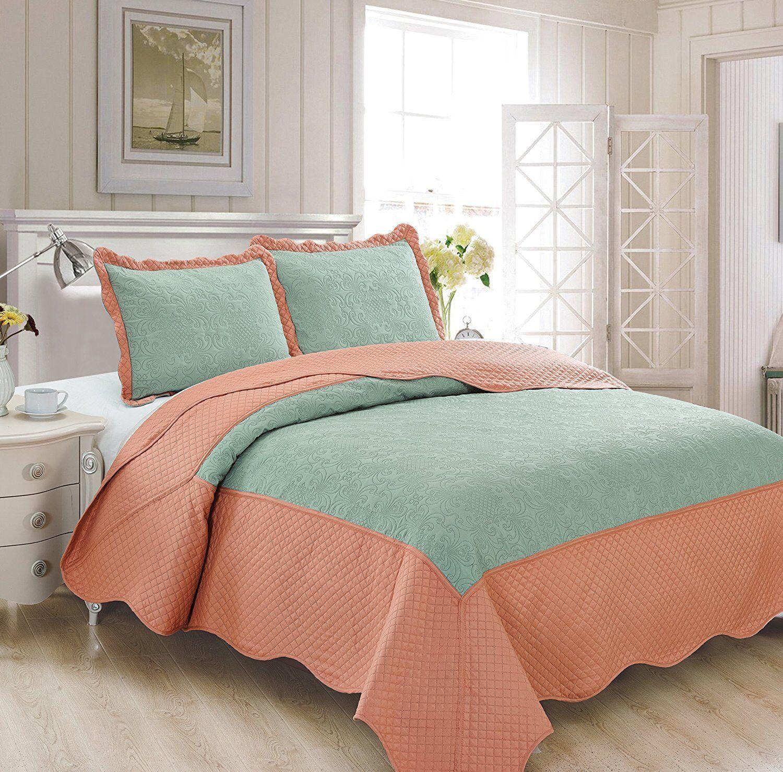 Fancy Linen 3pc King Luxury Bedspread Embossed Solid Spa Blu