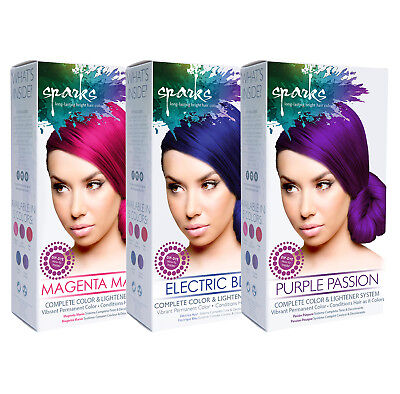 Hair Lightening Kit - [SPARKS] COMPLETE COLOR & LIGHTENER SYSTEM HAIR DYE KIT VIBRANT PERMANENT