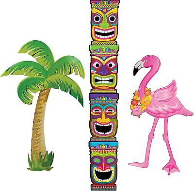 3-pk TIKI/PALM TREE/FLAMINGO Luau Pool Party Jointed Cutouts Decorations 36-60in