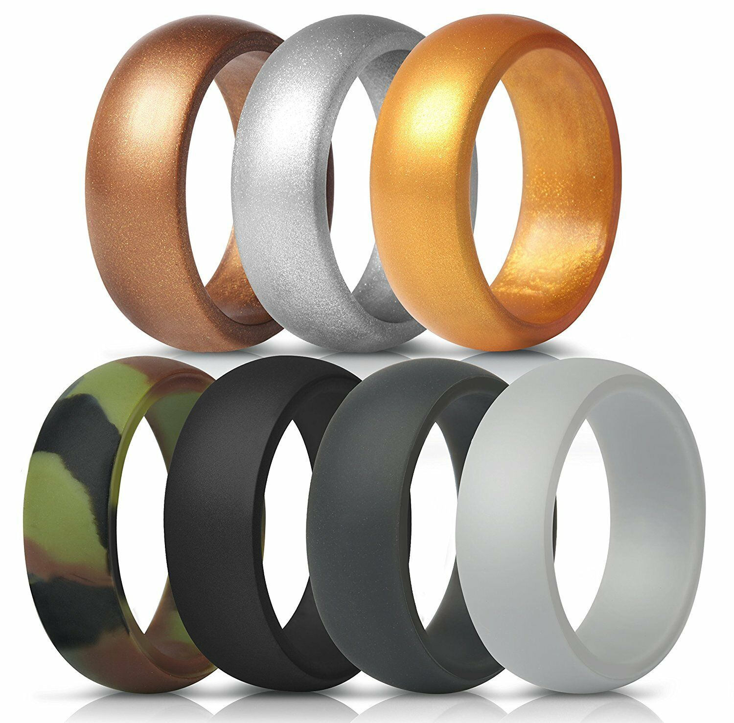 New ThunderFit Silicone Rings 7 Pack Flexible Wedding Bands