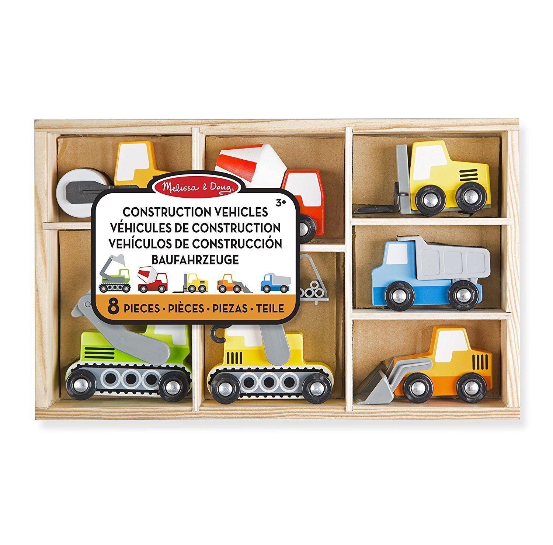 Veicoli da Cantiere in Legno 7 pz -Camion Ruspa Giocattolo- Melissa & Doug
