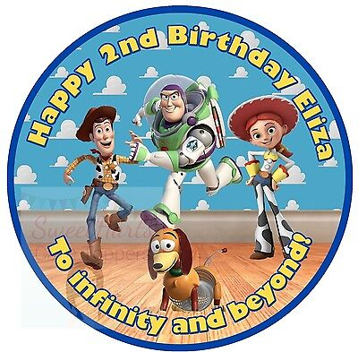 TOY STORY CAKE TOPPER EDIBLE PERSONALISED ICING WOODY BUZZ LIGHTYEAR DECORATION (Toy Story Cake Topper)