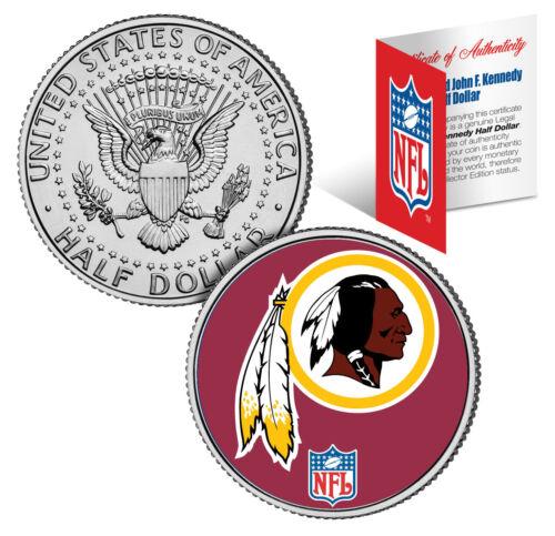 WASHINGTON REDSKINS NFL Logo JFK Half Dollar U.S. Coin Officially Licensed w/COA