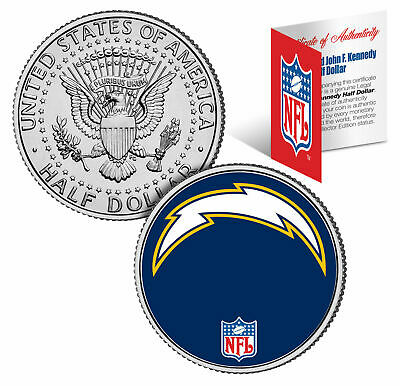 San Diego Chargers Display - SAN DIEGO CHARGERS NFL LICENSED JOHN F. KENNEDY HALF DOLLAR! COA & DISPLAY STAND