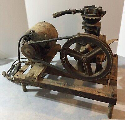 Vintage Cast Iron Air Compressor Pump Frigidaire Motor Hit Miss Maytag Engine