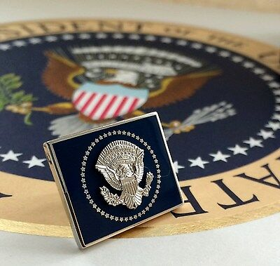 OFFICIAL OBAMA VIP LAPEL PIN~ SQUARE DESIGN~SILVER & COBALT~ PRESIDENTIAL SEAL