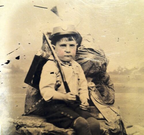 Civil War Tintype Photograph Young Boy In Uniform W/ Rifle Named Charlie Boy