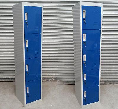 New 4 5 Door Steel Metal Blue Lockers Storage Gym 180x38x42cm. Rrp 135-150