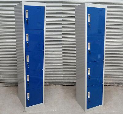 New 4 5 Door Steel Metal Blue Gym Work Lockers 180 X 38 X 42cm. Rrp 135-150