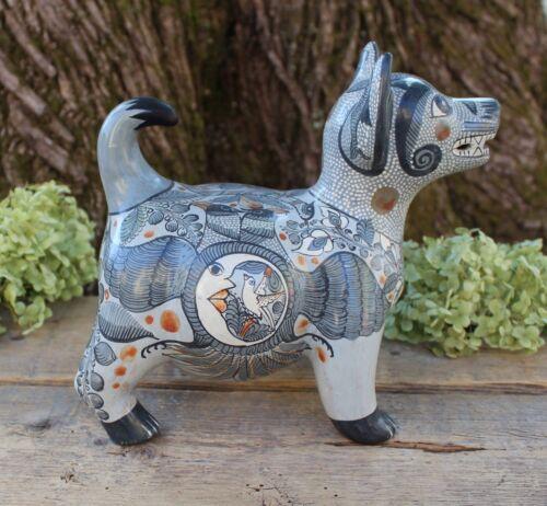 Mexican Folk Art Colima Dog Handmade Hand Painted 2 Headed Eagle Tonala Pottery