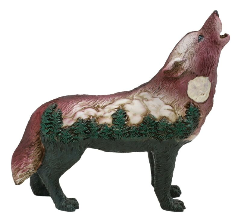 """Big Tree Forest Native Tribal Howling Wolf Totem Spirit Figurine Collection 6""""L"""