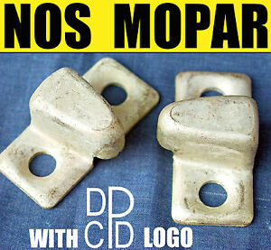 2-VINTAGE-NOS-MOPAR-DOOR-LOCK-DOVETAIL-WEDGE-STRIKE-PLATES-50s-DODGE-TRUCK-WC