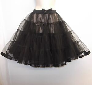 New-Black-23-long-Net-Tulle-1950s-PinUp-Rockabilly-Vintage-Petticoat-TuTu-Skirt