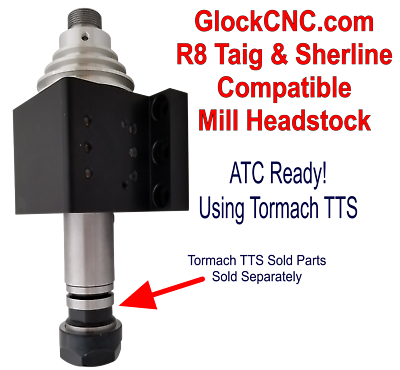 Photo Sherline & Taig Compatible R8 Mill Headstock - ATC Ready via Tormach® TTS®