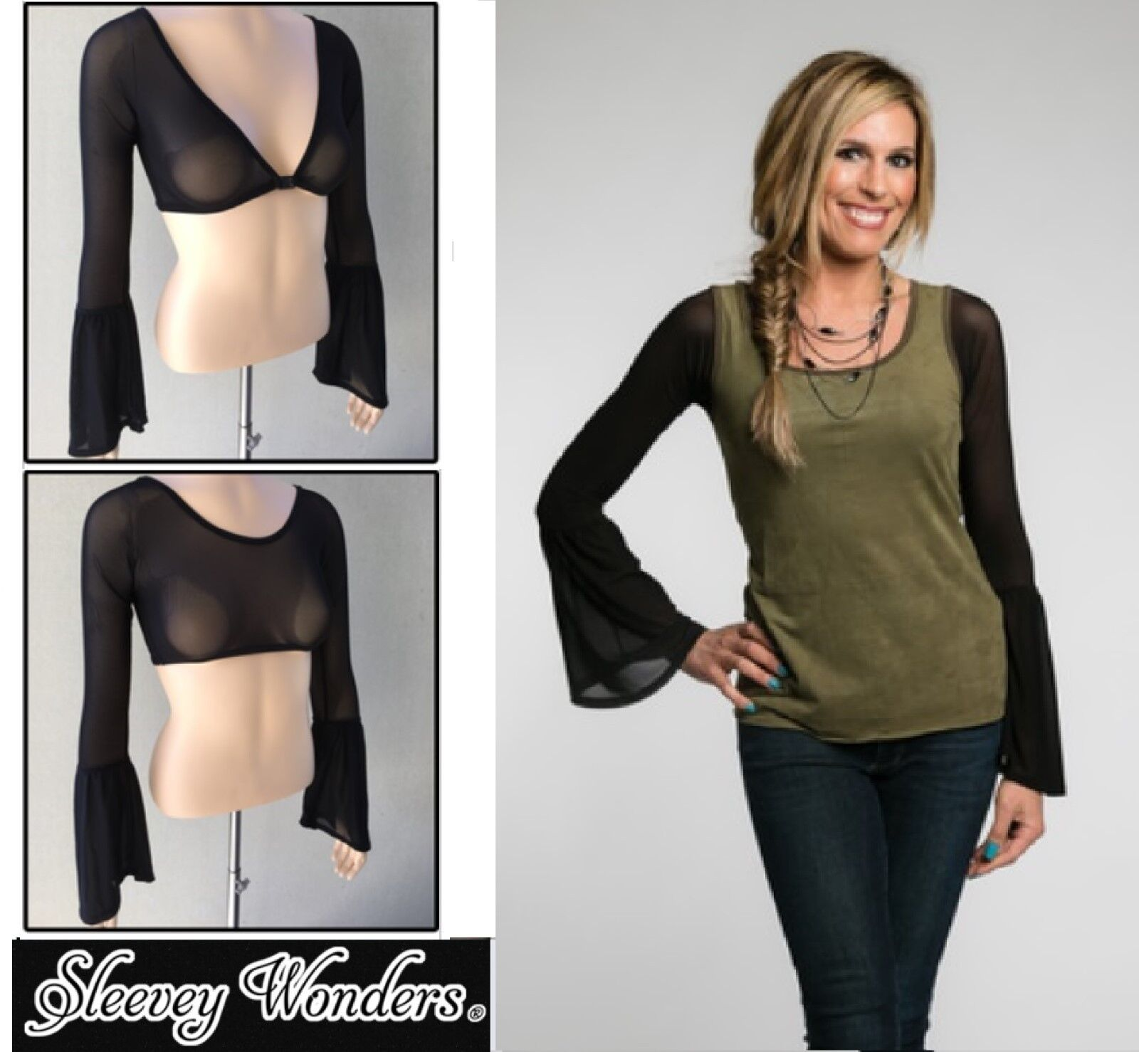 3a001ca353a83 Details about SLEEVEY WONDERS 40703 Long BELL-Sleeve SHAPEWEAR SLEEVES TOP  Stretch MESH BLACK