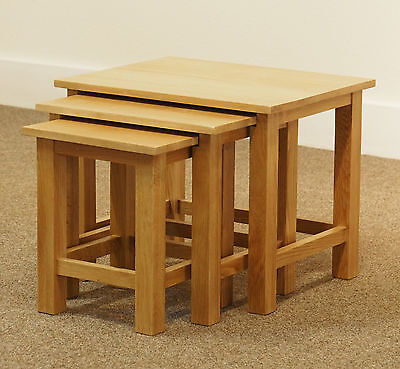 London Oak Nest of Tables / Light Oak Lamp Tables / Solid Wood Coffee Table Set