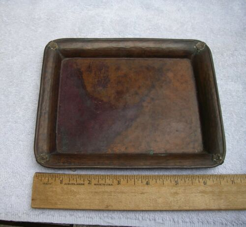 Antique JAPANESE Copper Small TRAY-Brass Edge-Hammered-SIGNED-NR