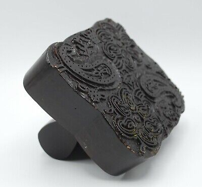 Hand Carved Wood Print Block Stamp With Handle - Paisley Flowers