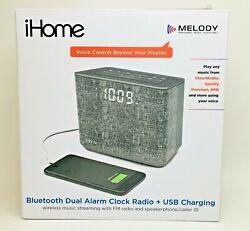 iHome Melody Bluetooth Dual Alarm Clock Radio Plus USB Charging Grey Color
