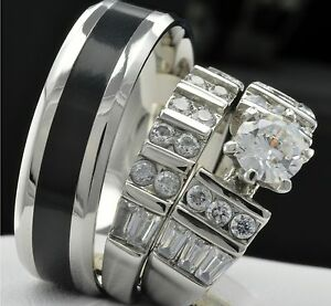 Wedding > Engagement/Wedding Ring Sets > CZ, Moissanite & Simulated