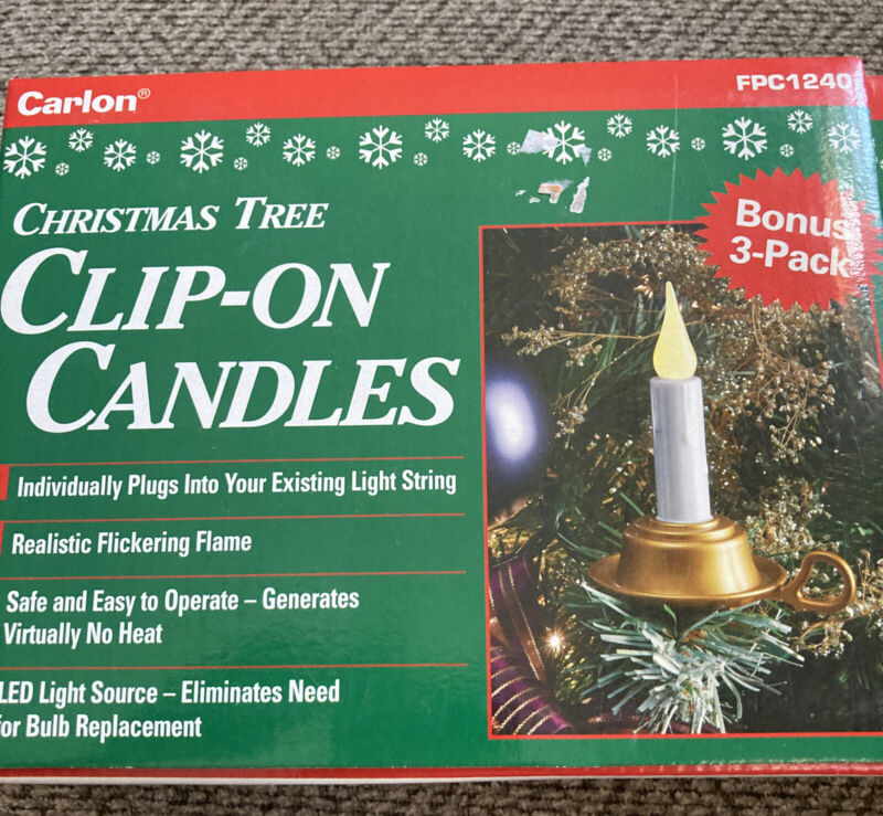 Carlon Christmas Tree Clip-On Candles 3 Pack FPC1240 3-Pack LED NEW