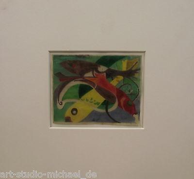 """Farbige Monotypie auf Pergament """"Spielende Fische"""", 50er Jahre"""