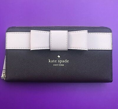 Kate SPADE Bow LACEY KIRK PARK Saffiano Leather Zip Around WALLET Mahogany New