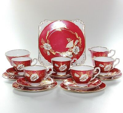 Royal Stafford Tea Set, Red Gilt.