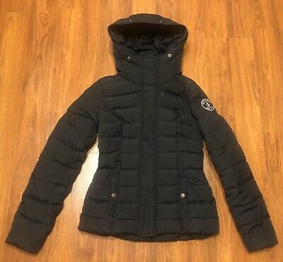 Women's Abercrombie Fitch A&F Down Navy Blue Puffer Warm Hooded Jacket XS