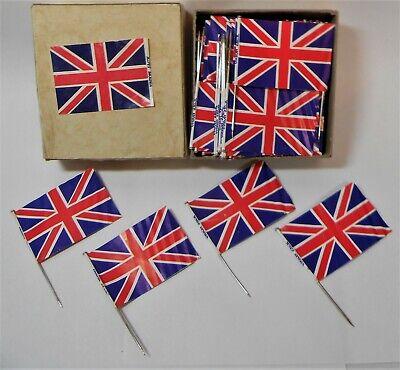 VTG 57 PAPER UNION JACK FLAG STICK PINS ORIGINAL BOX GREAT BRITAIN ENGLAND LOOK  Union Jack Vintage