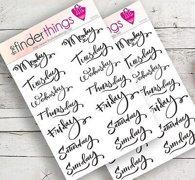 Days of the Week Stickers Scrapbook, Planner, Diary, & Fun Precut, Week Days Blk