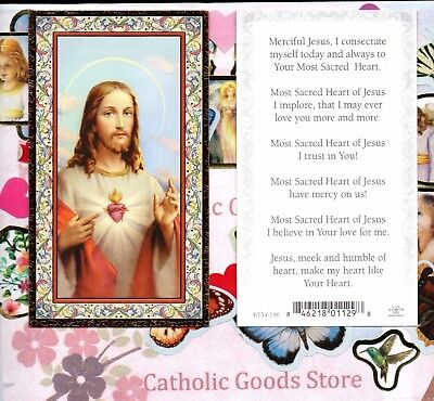 Daily Consecration to the Sacred Heart - Gold Trim paper Holy Card