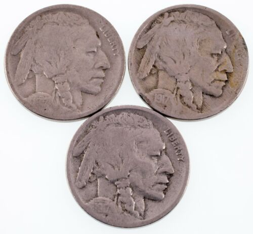 Lot of 3 Buffalo Nickels (1917-P/D/S) in Good+ Condition, All Have 4 Digit Dates
