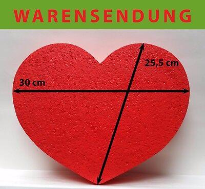 Styropor Herz 1 Stück rot 30 x 25,5 Höhe 10 cm Hochzeit Liebe Farbe Krepppapier