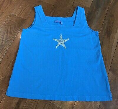 Womens Fresh Produce Tank Top Sleeveless Blue White Starfish Beaded Sz XS Sweet Womens Tank Top