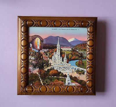 Lourdes alte Spieldose  Ave Maria Tischbild ca. 30er Jahre A.B. Musique Suisse