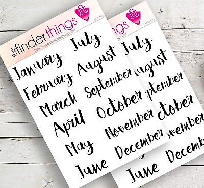 Month of the Year Sticker Scrapbook, Planners, and Fun Months in Black - Precut