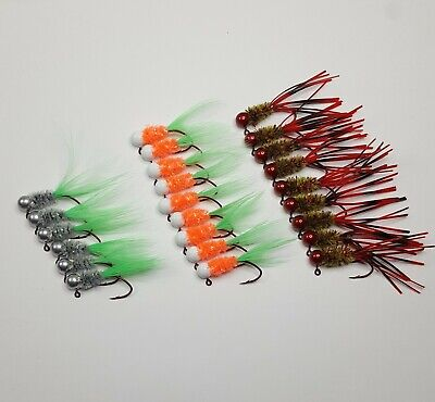 100 pk 1//16 oz Tube Insert Crappie Bluegill Fishing Jigs Red Sickle Hooks