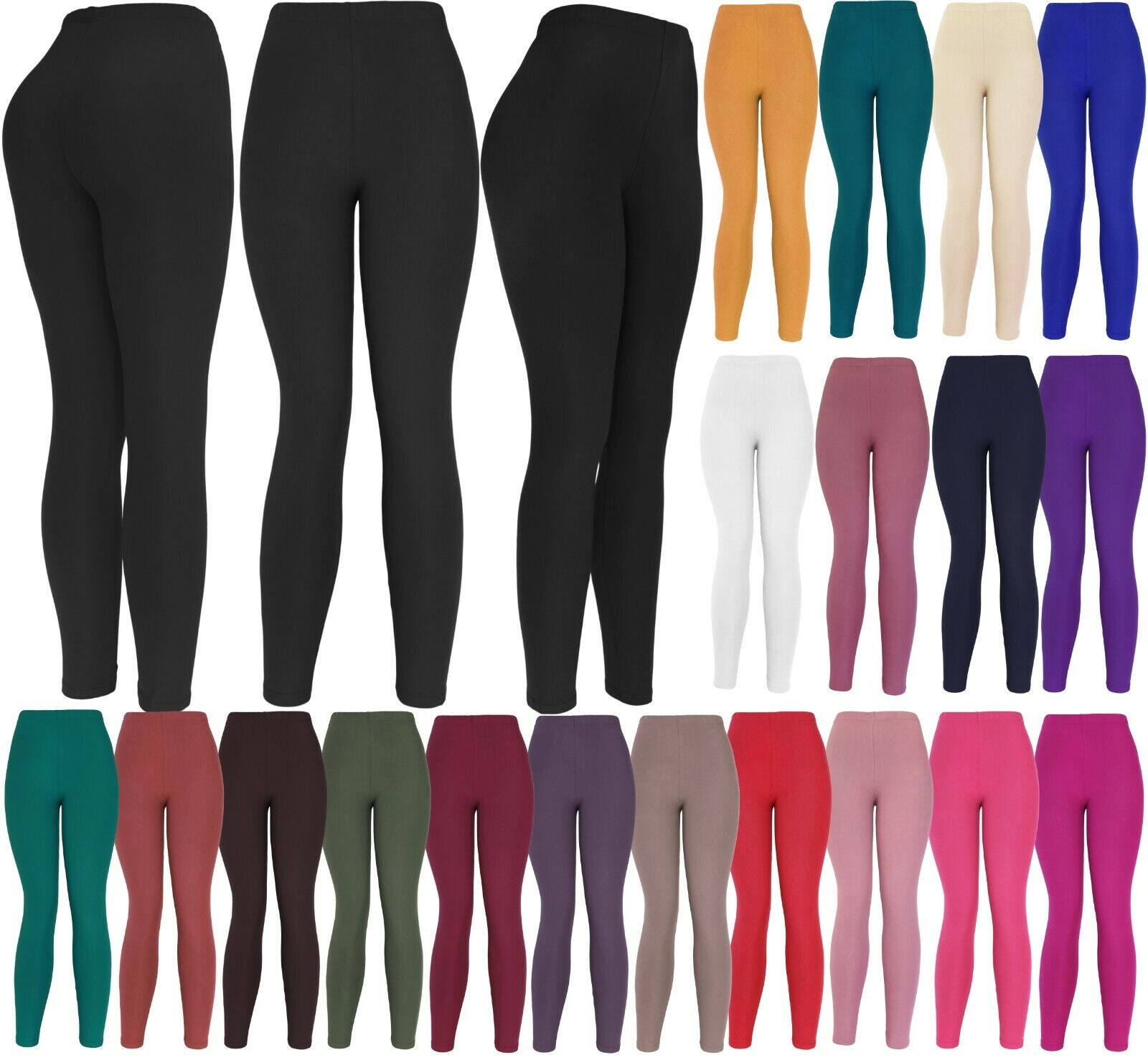 Ultra Soft Solid Brushed Basic Full Regular/Plus Leggings Clothing, Shoes & Accessories