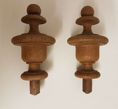 2 x Antique French Solid Walnut Embellishment Finials - Project Wood Furniture