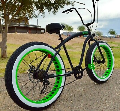 Fat Tire Beach Cruiser Bike Flat Black w Green Wheels - 7 SPEED-CUTOUT RIMS