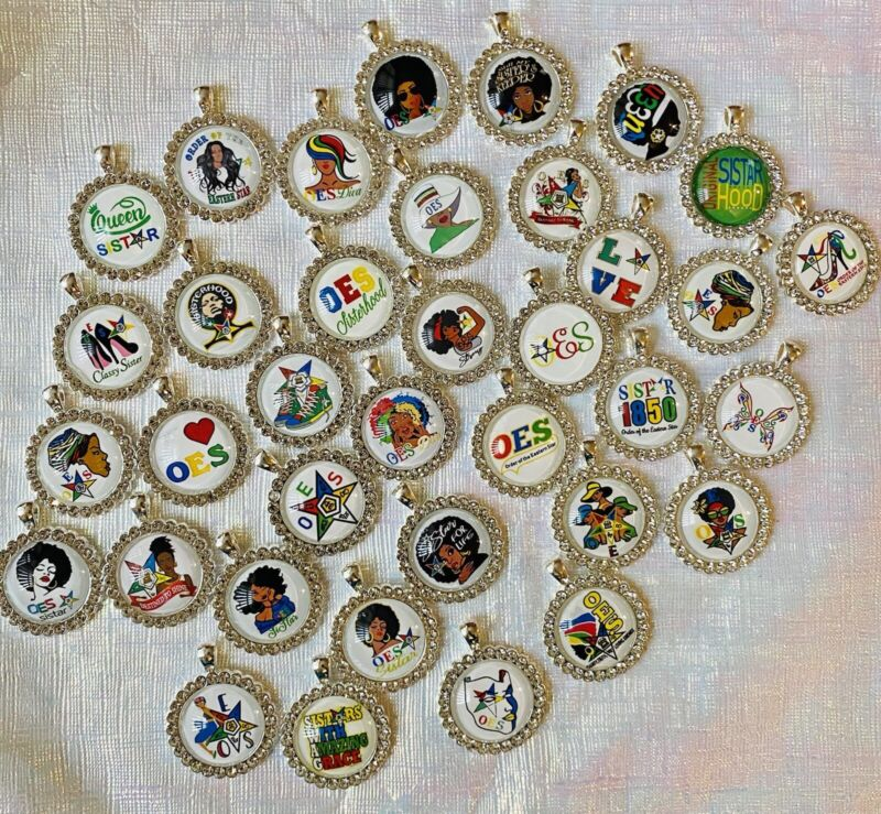 10 Mixed Silver The Order Of Eastern Star Rhinestone Charms