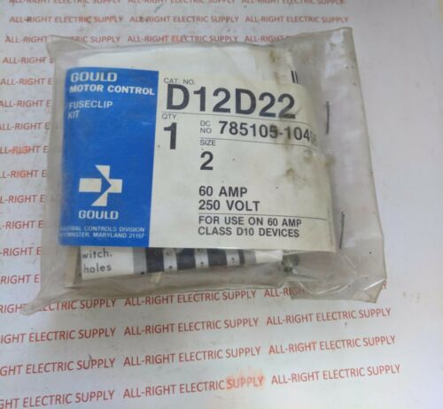 New in Package Gould I-T-E Fuse Clip Kit D12D22 Size 2 60A 250V