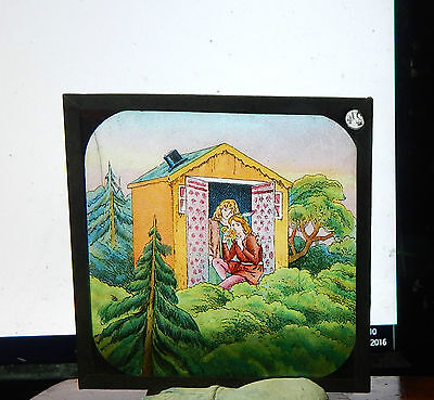 Victorian Glass magic lantern slide Hansel and Gretel colour image ci3